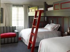 bunks over full beds. Not sure why you would need so many beds in one room...but if you do here's a great way to do it.
