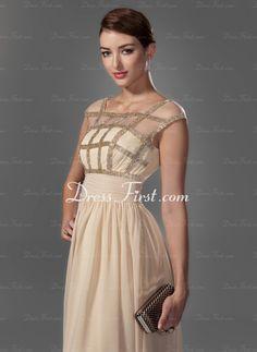 A-Linie/Princess-Linie U-Ausschnitt Bodenlang Chiffon Ballkleid mit Rüschen mit Perlen verziert (018005069) - DressFirst de