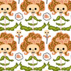 big hair skelly flowers fabric by skellychic on Spoonflower - custom fabric