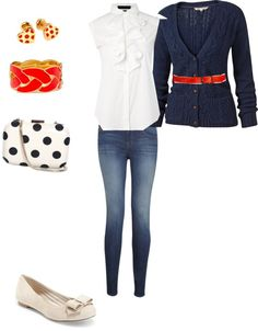 Classy casual, I love navy and red together. Jeans and flats are quick and easy.