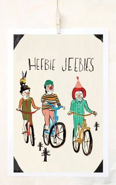 Heebie Jebbies, Bicycle Art, Bike, Clowns, Humor, Poster, Quirky Children's Art, Unique Home Decor, Affordable art, Weird, Fine Art Print on Etsy, $24.00