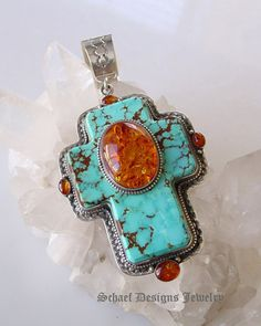 David Troutman Turquoise Amber  Cross Pendant