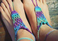 Handmade Bright Peacock,Crochet Barefoot Sandals,Hippie Foot Thongs Crochet Accessories, Bridal, Bridesmaids, Summer, Beach. $10.00, via Etsy.