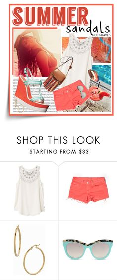 """""""The Cutest Summer Sandals"""" by shortyluv718 ❤ liked on Polyvore featuring Oris, RVCA, J Brand, H&M, Bony Levy, STELLA McCARTNEY, wedgesandals, contestentry and summersandals"""