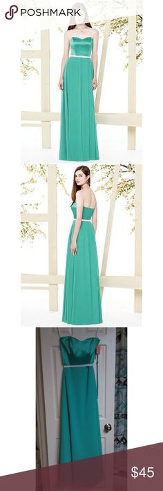 Social Bridesmaids formal/prom/bridesmaid dress Social Bridesmaids dress in pantone turquoise with belt in ivory; fabric is Nu Georgette; comes with detachable straps Social Bridesmaids Dresses