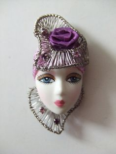 LADY+HEAD+FACE+PIN+BISQUE+BROOCH+Silver+Wire+Metal+Rhinestones+HANDCRAFTED+++#PinBrooch
