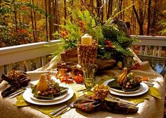 Unique Fall Outdoor Decorations | Outdoor ferns and woods table Using Fall…