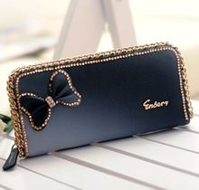 WBG0056 Neue mode Kristall lange stil handtasche dame mädchen brieftasche bogen schmetterling diamant-frauen geldbörse Drop Shipping(China (Mainland))