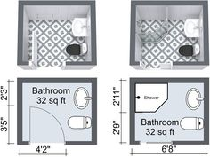 Small Bathroom Floor Plans with Pocket Door Short on space? RoomSketcher shows you 10 Small Bathroom Ideas that really work and how to try them in your own Bathroom Design. Small Bathroom Floor Plans, Small Basement Bathroom, Small Bathroom Layout, Bathroom Design Layout, Small Bathroom With Shower, Tiny Bathrooms, Bathroom Ideas, Small Bathroom Dimensions, Bathroom Organization