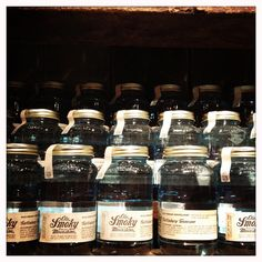 """Be sure to hit up Ole Smoky in Gatlinburg to sample all of their tasty moonshines! Pictured is their 128 Proof """"Blue Flame"""", which lives up to its name. Wowza."""
