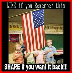 "I do think we should do this, but I also think it's very important that we explain to kids what it means. I was shocked by the fact the only a tiny handful of people in my college American Politics class knew the meaning of ""allegiance"". We Are The World, In This World, American Pride, American Flag, American History, American Anthem, American Girl, Independance Day, Thing 1"