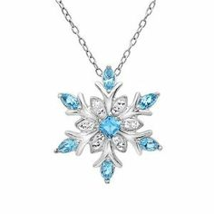 Sterling Silver Snowflake Pendant - Necklace with Blue and White Swarovski Crystals: Jewelry