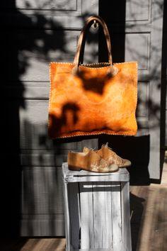 Orange haircalf hand stiched Tote. Oxford suede/fabric shoes Fabric Shoes, Suede Fabric, Morocco, Madewell, Oxford, Tote Bag, Orange, Bags, Fashion