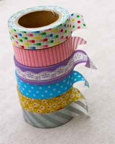 Addicted to Washi - 54% off at The Plaid Barn  Each roll contains over 32 feet of gorgeous tape!     Yes, we all love it… it's washi tape!!!     Each roll contains 10m or a little over 32 feet of pure prettiness!    You'll receive:  one 15mm x 10m roll of washi tape in your design choice    Choose from the following designs:     Colorful Confetti  Pink Stripes   Blue & White Polka Dots   Gray Diagonal Stripes    Mustard Floral   Purple Lace   Limit of 12 rolls per person.