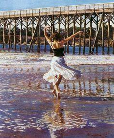 Steve Hanks painting of woman dancing on beach! Love this!