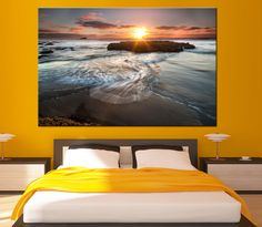 Large Ocean Sunrise Photoprint Multi Panel Canvas Print Wild Nature Wall Art Decoration Extra Large Print Ready to Hang by CanvasPrintStudio on Etsy