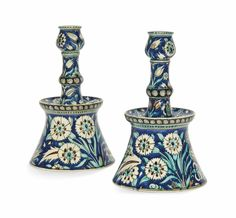 A PAIR OF POTTERY CANDLESTICKS IN THE IZNIK 'DAMASCUS' STYLE | ULISSE CANTAGALLI, FLORENCE, ITALY, LATE 19TH CENTURY | 19th Century, All other categories of objects | Christie's Chinoiserie, Turkish Design, Oriental, Renaissance Fashion, Wave Pattern, Tile Art, Damascus, Islamic Art, Makers Mark