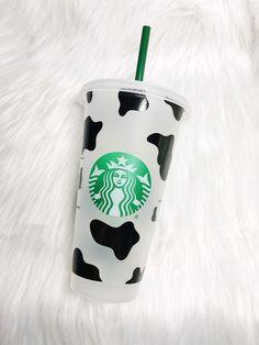 Custom starbucks cup Cow Print by SophiaGreyDesigns on Etsy Starbucks Cup Design, Starbucks Tumbler Cup, Personalized Starbucks Cup, Custom Starbucks Cup, Personalized Cups, Copo Starbucks, Starbucks Logo, Starbucks Drinks, Frappuccino