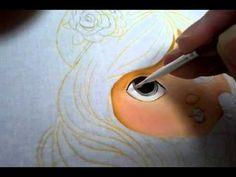 Pintura em tecido, rosto da Jolie - olhos parte 2 por Valquiria