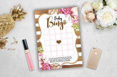 Pink Gold Baby Bingo Game Baby Shower White Spade Stripes Advice Parents Glitter…