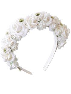 Blumenhaarband, Blumenkranz, Hair, Frisur,  Haarreifen - Schneeweißer Blumenkranz für den Kopf vom Designerlabel LIMBERRY.