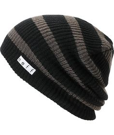 The name says it all, the Neff Daily black and charcoal stripe beanie is a perfect beanie for all day every day wear. This standard fit beanie has a slight slouch fit, allover black and charcoal stripe design and a custom Neff logo tag near the hem for ad