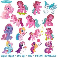 My Little Pony Clipart Party Holiday Little Pony Clip Art Set Digital Invitations Printable Clipart Graphic 300 dpi PNG INSTANT DOWNLOAD by EmilyArtClipart on Etsy https://www.etsy.com/listing/201833852/my-little-pony-clipart-party-holiday
