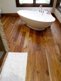 Teak Flooring by Pacific Coast Teak Teak Flooring, Wooden Bathroom, Pacific Coast, Bathroom Inspiration, Bath Mat, Decorative Bowls, Bali, Sink, Rustic