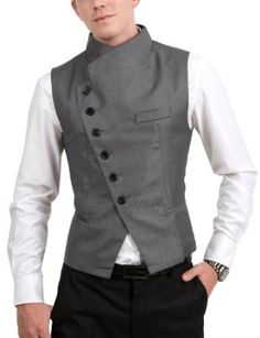 Mens Stunning Design Slim Vest - Men's style Cyberpunk Mode, Cyberpunk Clothes, Cyberpunk Fashion, Waistcoat Men, Nehru Jacket For Men, Blazer Jacket, Nehru Jackets, Revival Clothing, Mens Fashion