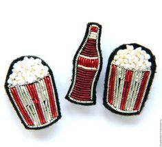 """Броши ручной работы. Ярмарка Мастеров - ручная работа. Купить Брошь """"Попкорн и кока-кола """" ручная вышивка .. Handmade."""
