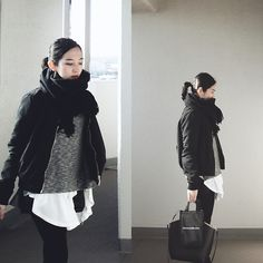 Yuko Tanaka - Stradivarius Ma 1, Zara Top, Sly Top, H&M Shorts, Zara Bag, Scarf - Color me black