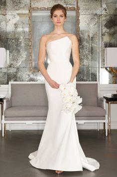 Romona Keveza Collection Bridal Spring 2017 crepe wedding dress asymmetrical strapless neckline