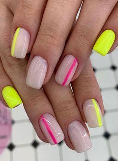 Chic Nail Designs, Neon Nail Designs, Nail Designs For Summer, Nail Art Ideas For Summer, Art Designs, Chic Nails, Stylish Nails, Trendy Nails, Neon Nails
