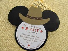 Western themed Mickey Mouse birthday party invitation by Studio73B, $2.25