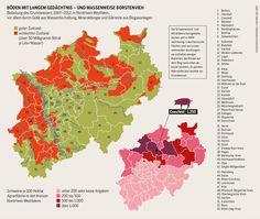 Böden mit langem Gedächtnis - und massenweise Borstenvieh. Belastung des Grundwassers 2007–2012, in Nordrhein-Westfalen, vor allem durch Gülle aus Massentierhaltung, Mineraldünger und Gärreste aus Biogasanlagen.