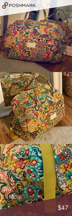 Vera Bradley - Yellow Floral Weekender Bag Used twice! Perfect amount of room for a long weekend! Lots of pockets. Vera Bradley Bags Travel Bags
