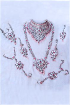 Designer Wedding Necklace; Pink Wedding and Bridal Motti and Stone Necklace Set