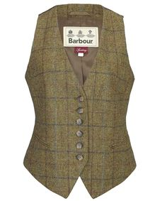 Women's Barbour Clover Waistcoat is a British Mallalieus Tweed tailored waistcoat with Barbour jacquard lining and belt adjuster to back. Joules Clothing, Crew Clothing, Vest Outfits, Casual Work Outfits, Barbour Vest, Olive Vest, Army Green Vest, Tweed Waistcoat, Brown Vest