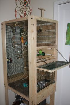 Turn a shelving unit into a large cage for your birds! Get a gorm unit and remove all shelves except the one that will be the bottom of the cage. Attach the removed shelves along the back of the cage Bird Cage Design, Diy Bird Cage, Bird Cages, Diy Parakeet Cage, Parakeet Bird, Hamsters, Cockatiel Toys, Diy Bird Toys, Hamster House