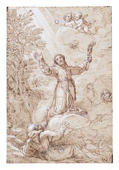 Michel Corneille the Younger PARIS 1642 - 1708 SAINT FRANCIS RECEIVING THE STIGMATA Pen and brown ink over red chalk, heightened with white 386 by 264 mm; 15¼ by 10½ in sotheby's