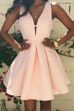 Deep V-Neck Pink Homecoming Dress, Short Satin Prom Dress, Simple Party Dresses on Luulla Cute Homecoming Dresses, Pink Prom Dresses, A Line Prom Dresses, Prom Party Dresses, Dresses For Teens, Trendy Dresses, Elegant Dresses, Sexy Dresses, Girls Dresses