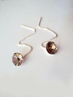 Greige Chain Earrings Ear Threads Sterling Silver by BijuBrill