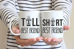 Introducing your new favorite Best Friend Mugs! Pour your morning coffee into this gorgeous graphic design and start your day with a smile!  ❤ QUOTE  Tall Best Friend, Short Best Friend  ❤ ABOUT OUR MUGS  ☕ Available in the ever-popular 11 oz size ☕ Dishwasher & Microwave & Safe…Yay! ☕ Heat pressed Ink Image will not fade ☕ Can be used for Hot & Cold beverages ☕ May induce others to giggle, smile or chuckle uncontrollably  =================================  Mugarita provides witty words of…
