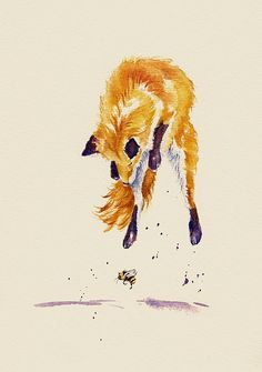 Bee Brave. FineArtEngland. An adolescent fox still has much to learn. Debra Hall