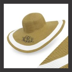 Monogrammed Floppy Hat....Beach Hat...Natural by Prepalicious, $24.00 with entwined monogram in navy thread