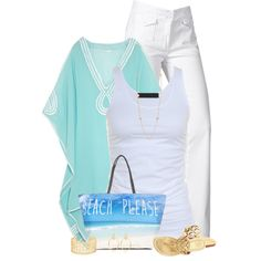 Beach Bag Scene by cindycook10 on Polyvore featuring moda, Heidi Klein, Tusnelda Bloch, 7 For All Mankind and Tory Burch
