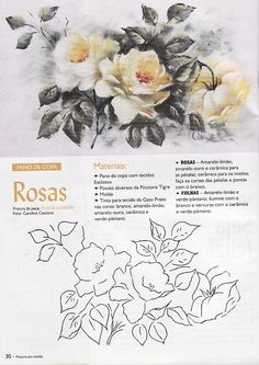 Raquel Art Pintura: Pintura em Tecido/Wilma Cherpinsky board on painting roses, beautiful projects