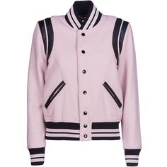 Varsity Jacket (5.040 BRL) ❤ liked on Polyvore featuring outerwear, jackets, rose, wool varsity jacket, light pink jacket, pink wool jacket, varsity jacket and wool jacket