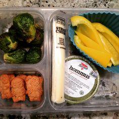 """""""School lunch: roasted Brussels sprouts, organic yellow peppers, @hannahintlfoods hommus, string cheese, MySuperCookies honey heroes. #schoollunch…"""""""