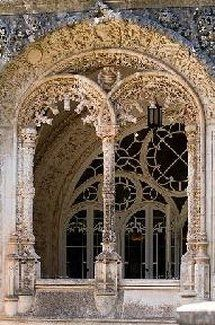 Arches of Bussaco Palace Hotel, Mealhada, Portugal, built between 1888 and 1907, is of Romantic design in Neo-Manueline style.